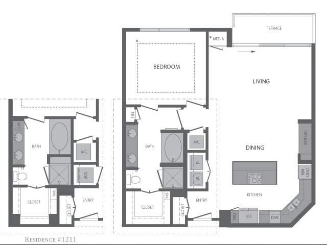 933 sq. ft. to 975 sq. ft. G floor plan