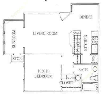 650 sq. ft. 1A floor plan