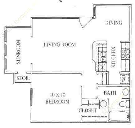 650 sq. ft. 1A floor plan