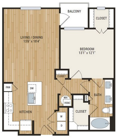 852 sq. ft. A7 floor plan
