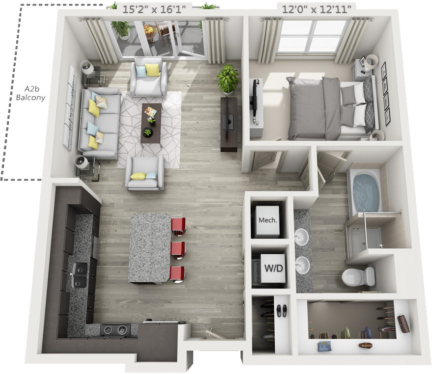 900 sq. ft. A2 floor plan