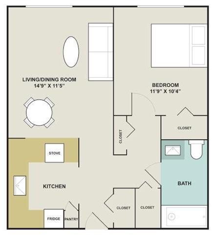 545 sq. ft. floor plan