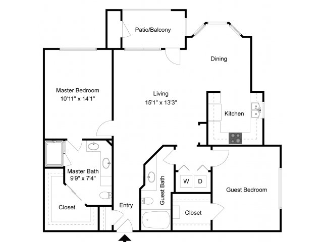 1,136 sq. ft. B2 floor plan