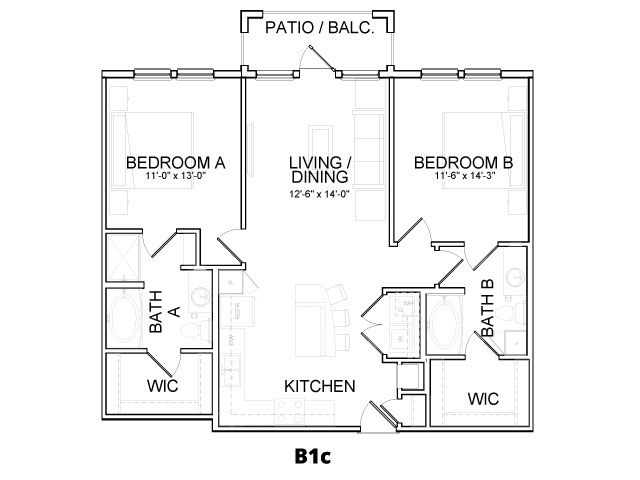 1,076 sq. ft. B1C floor plan