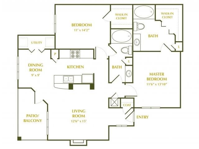 1,050 sq. ft. Dogwood floor plan