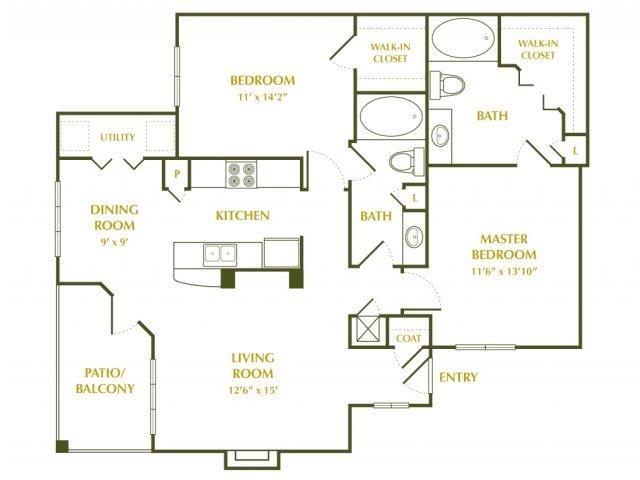 1,050 sq. ft. DOGWOOD floor plan