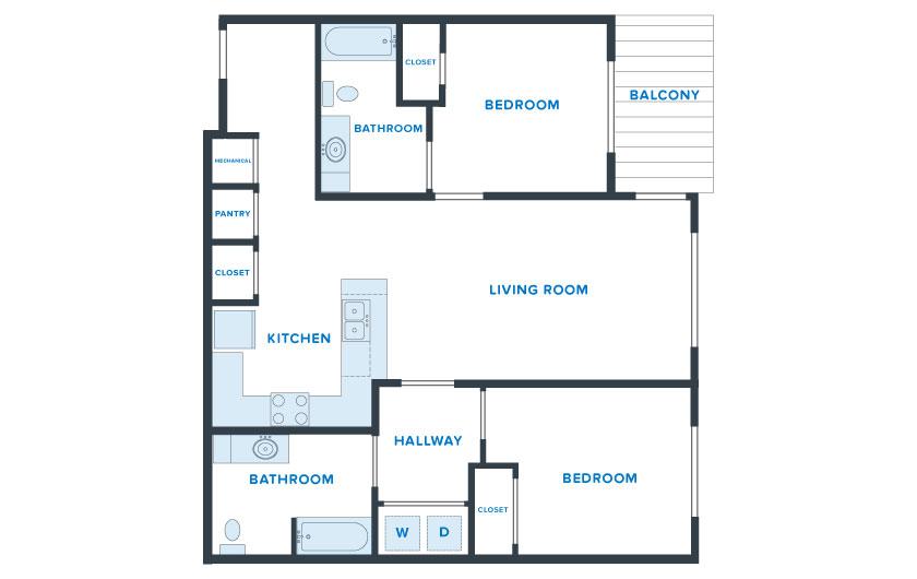 1,100 sq. ft. Longhorn floor plan