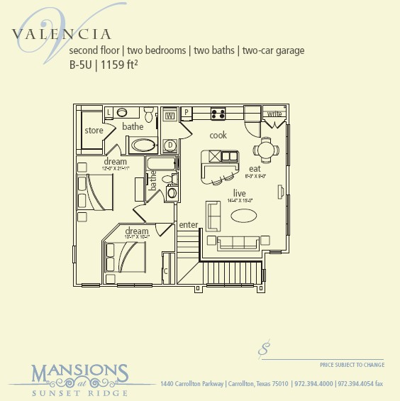1,159 sq. ft. Valencia floor plan