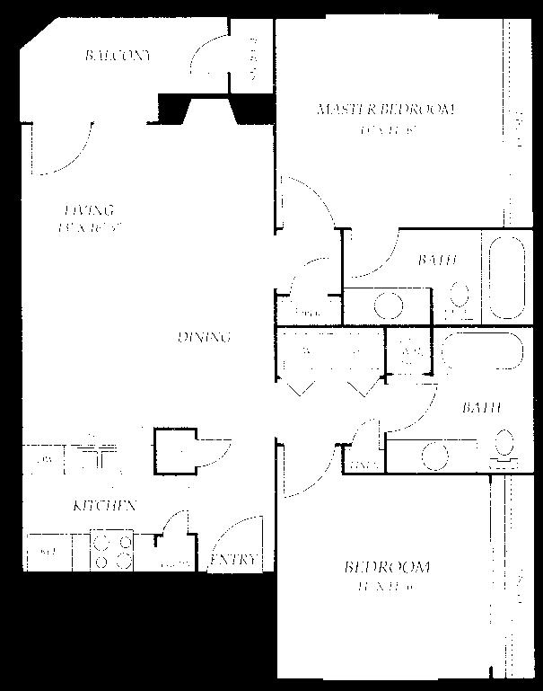 900 sq. ft. B4 floor plan