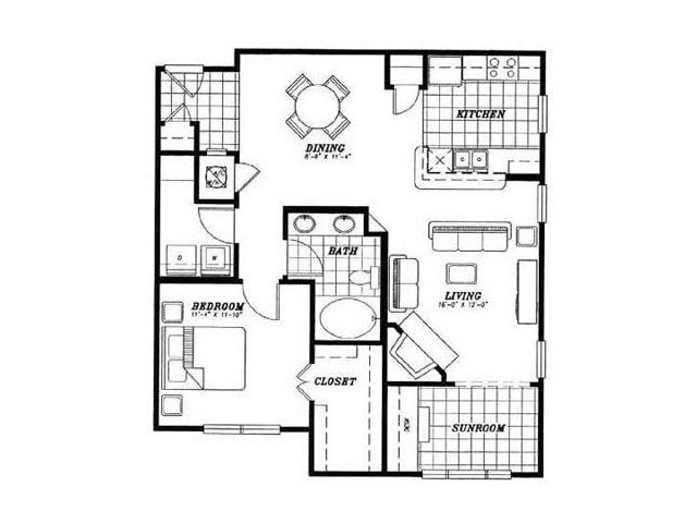 976 sq. ft. A3 floor plan