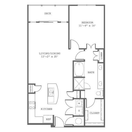 934 sq. ft. A7 floor plan