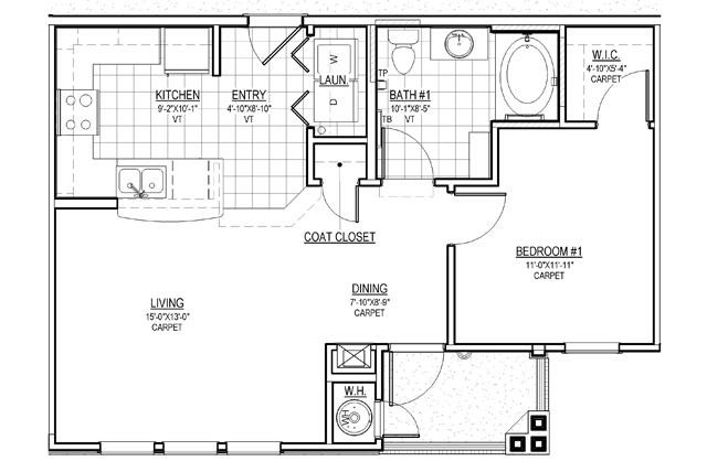 717 sq. ft. A1/30% floor plan