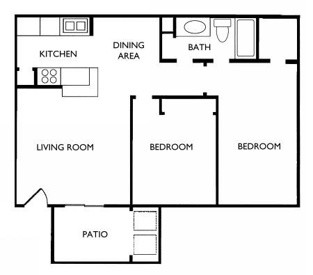 825 sq. ft. B1 floor plan