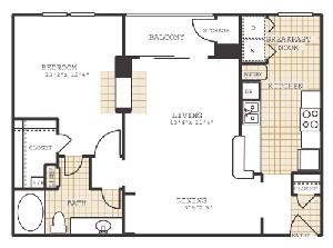 870 sq. ft. A2 floor plan