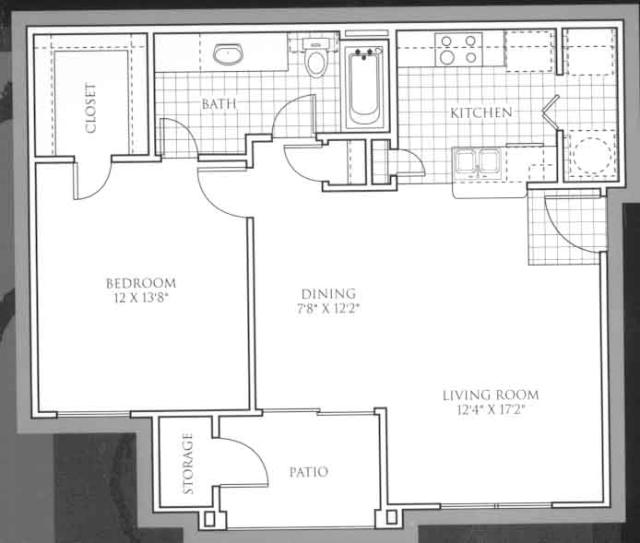 724 sq. ft. Pinehurst floor plan