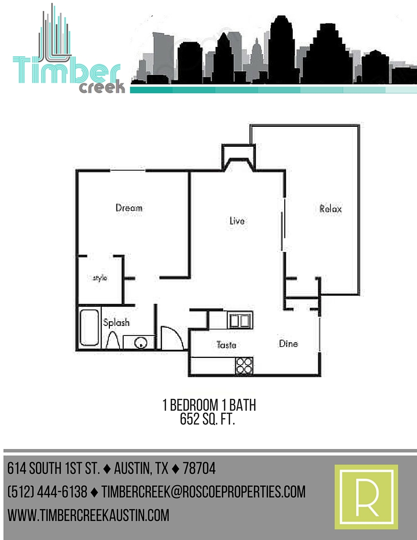 652 sq. ft. A4 floor plan