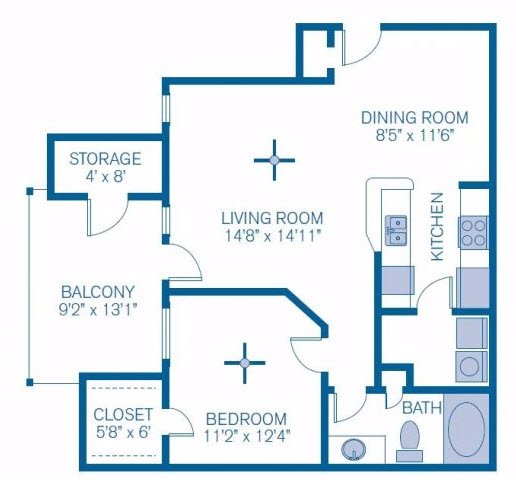 767 sq. ft. Pine Shadows floor plan