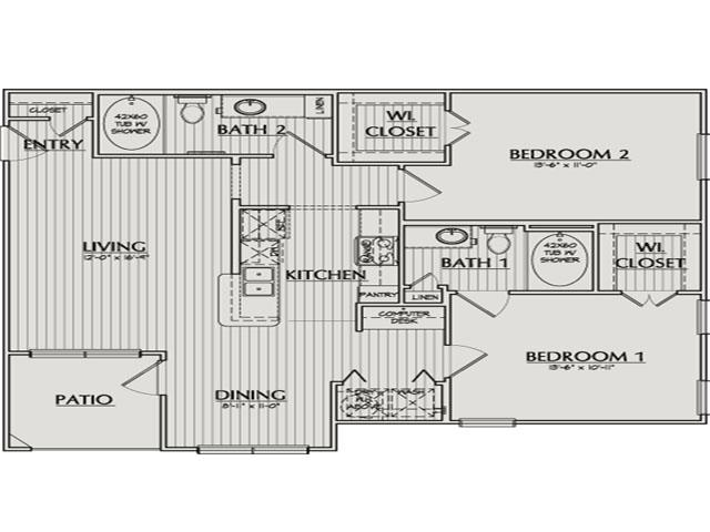 1,074 sq. ft. Morton floor plan