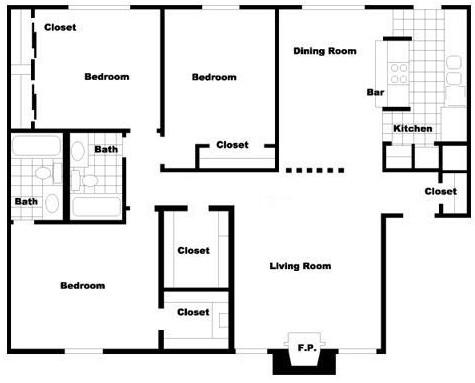 1,368 sq. ft. C3 floor plan