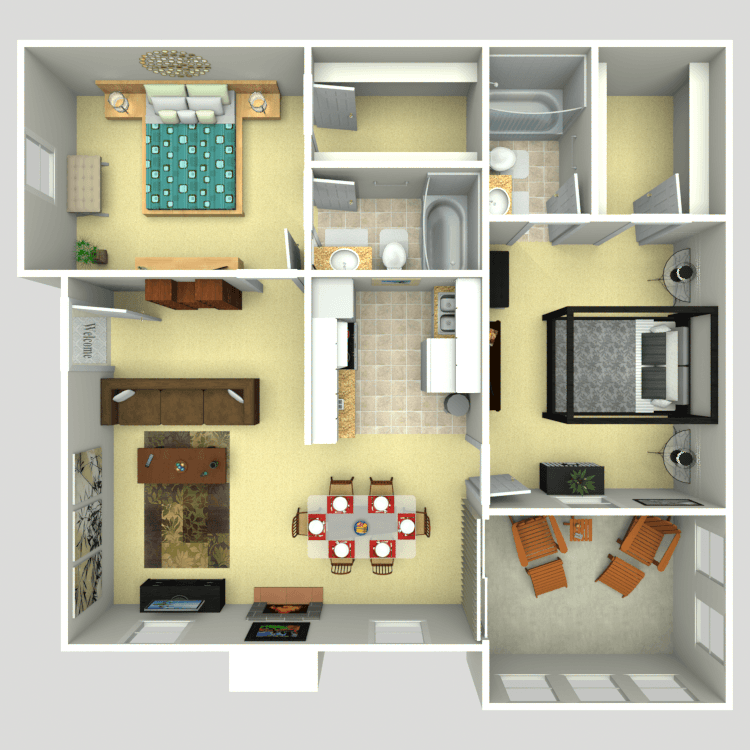 952 sq. ft. 2B floor plan
