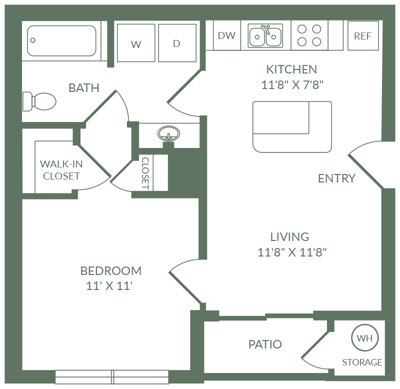 516 sq. ft. A1 floor plan