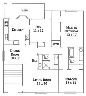 1,570 sq. ft. Plan F floor plan