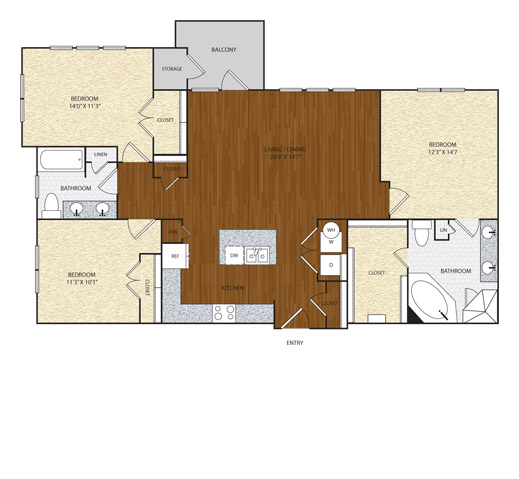 1,377 sq. ft. floor plan