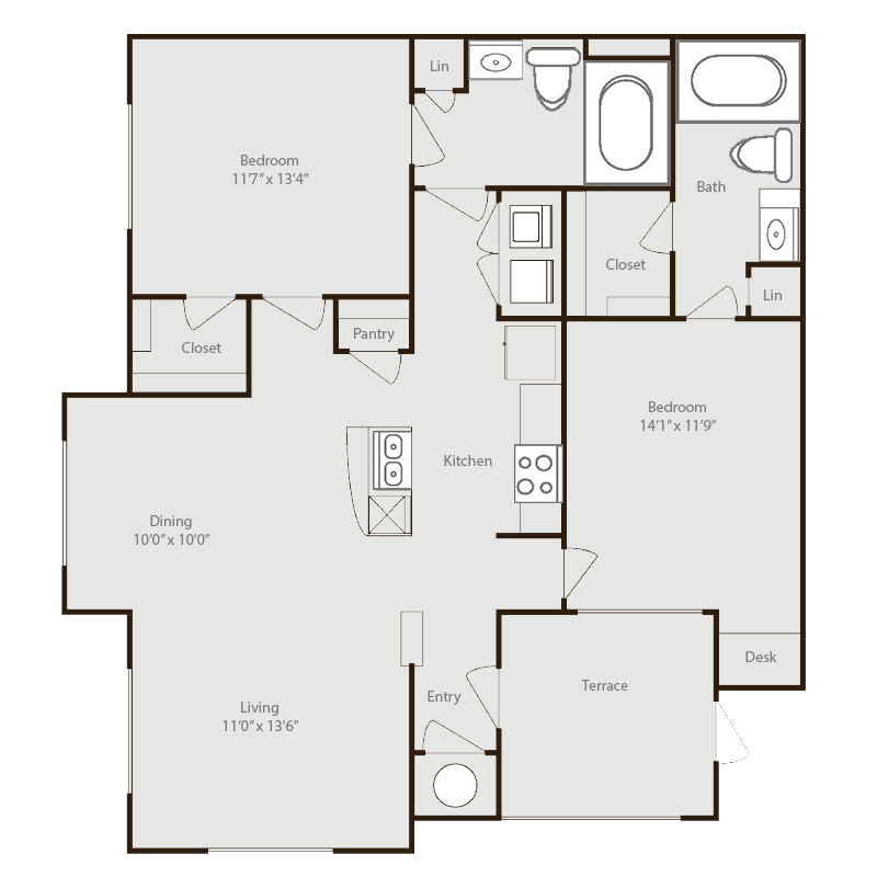 1,053 sq. ft. Nueces floor plan