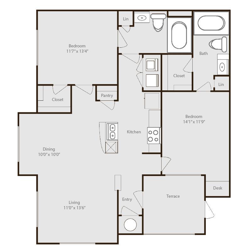 1,053 sq. ft. Nueces floor plan