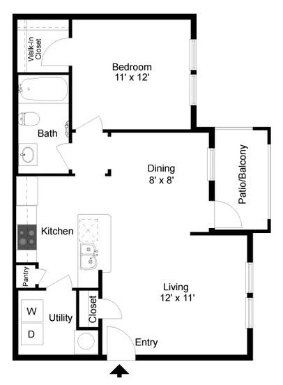 723 sq. ft. A2 floor plan