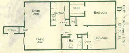 880 sq. ft. D floor plan