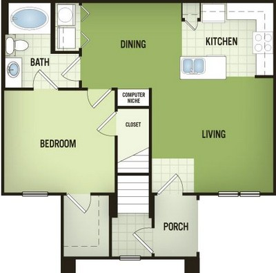 782 sq. ft. A2-G floor plan
