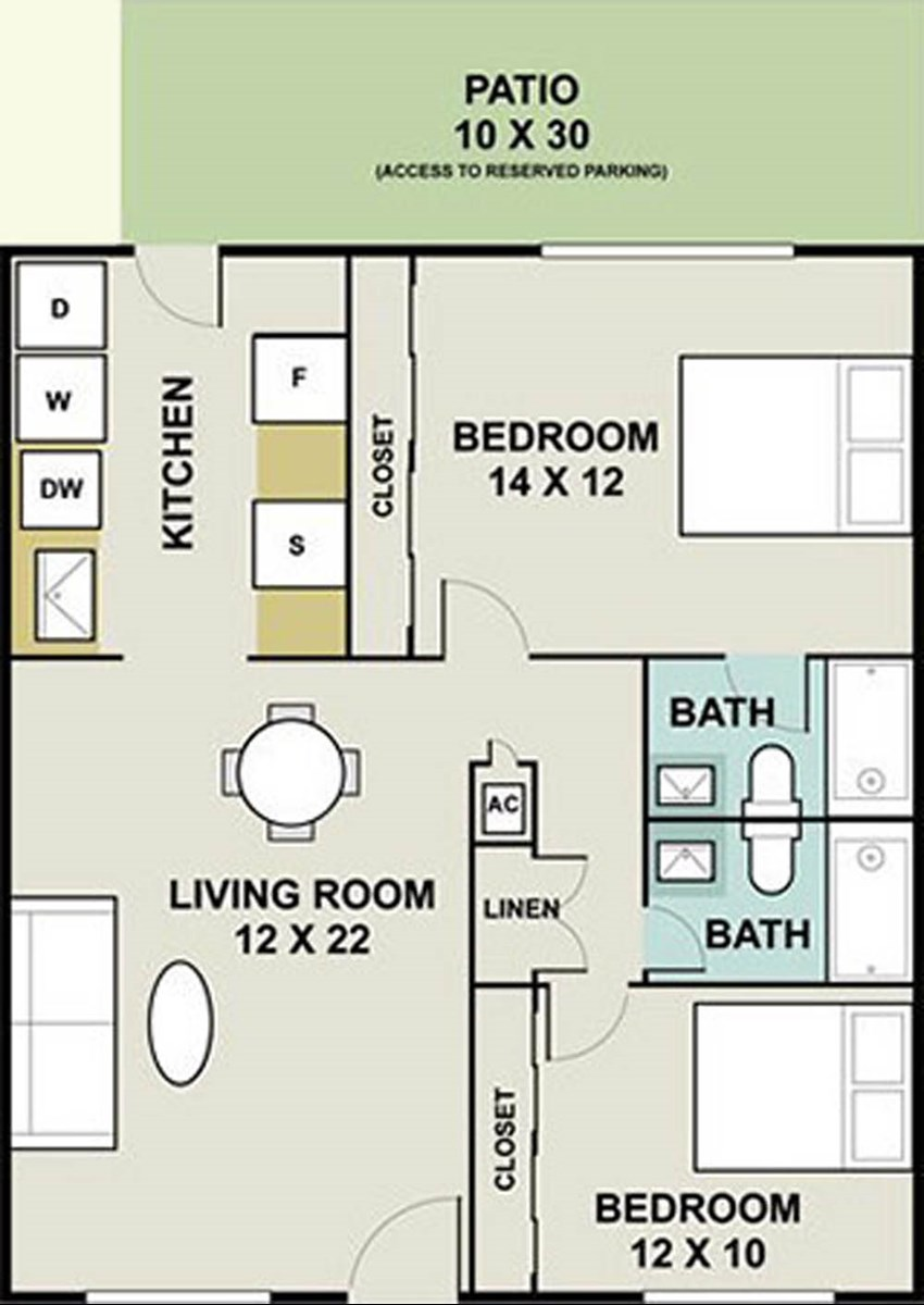 1,070 sq. ft. Seneca/Ph I floor plan