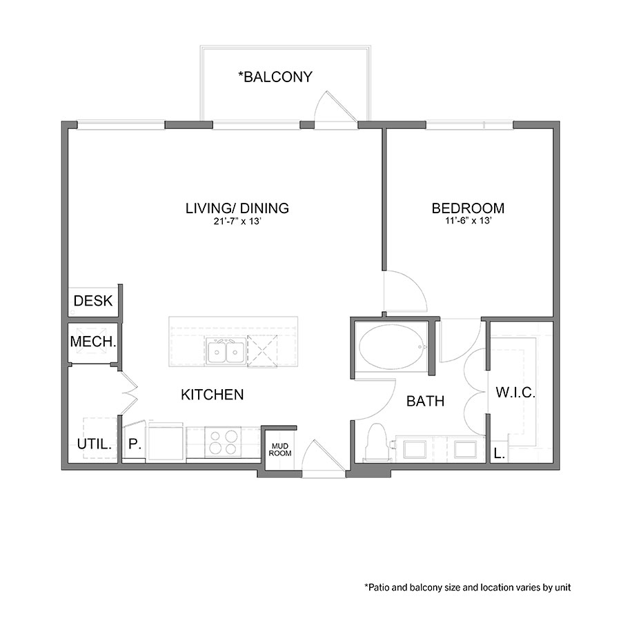 829 sq. ft. A6.1 floor plan