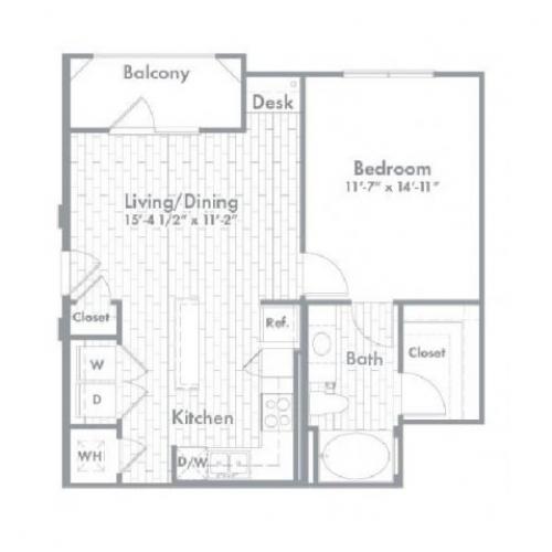 695 sq. ft. A1 floor plan