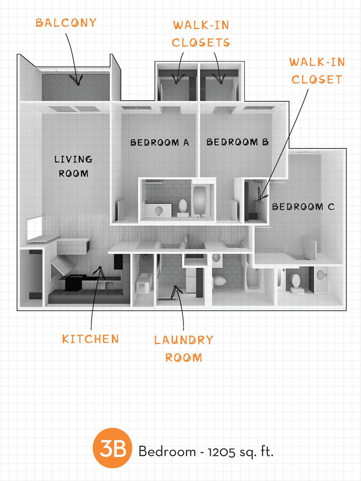 1,205 sq. ft. 3B floor plan