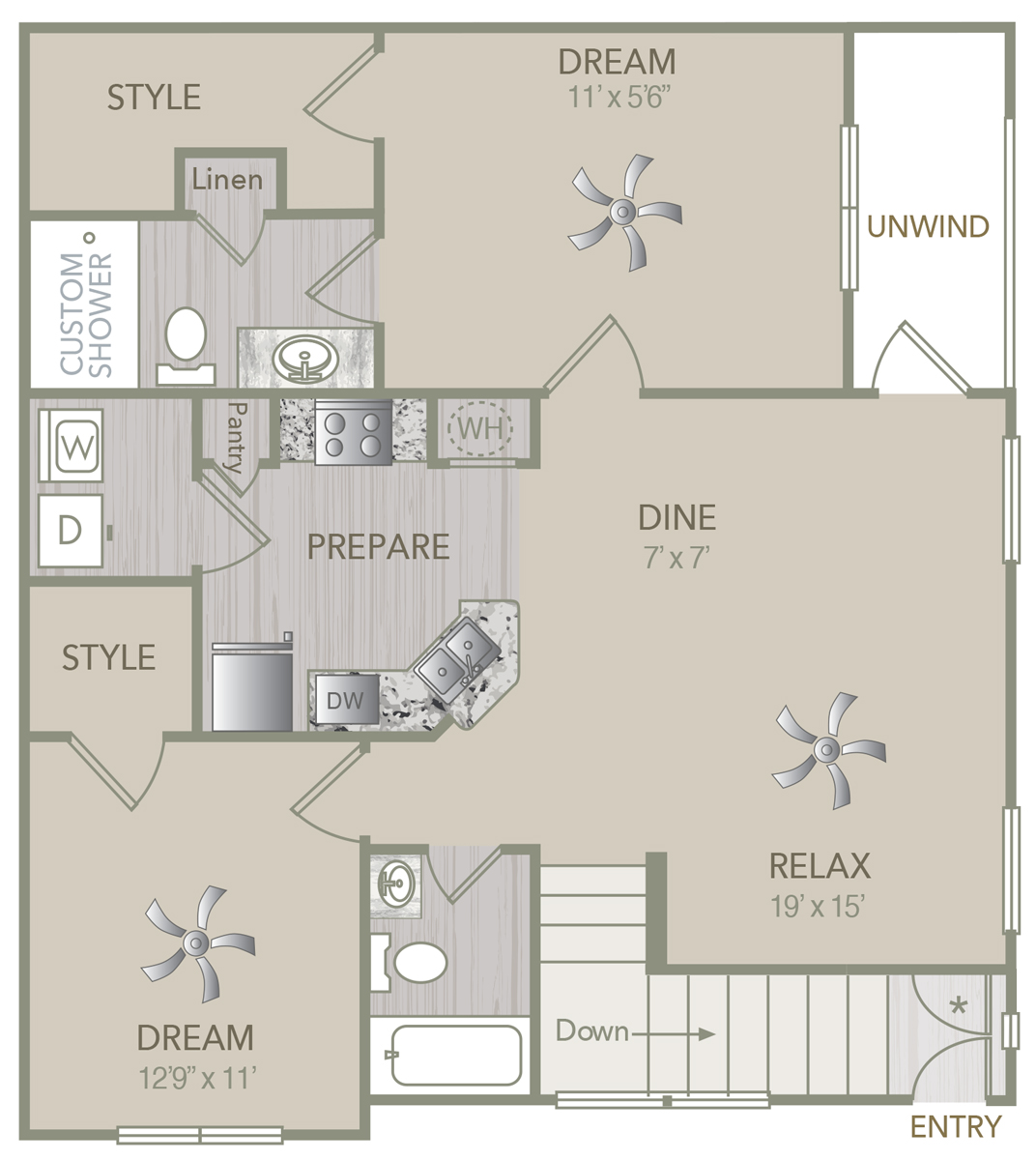1,151 sq. ft. B1U floor plan