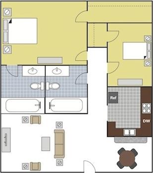 895 sq. ft. B1 floor plan