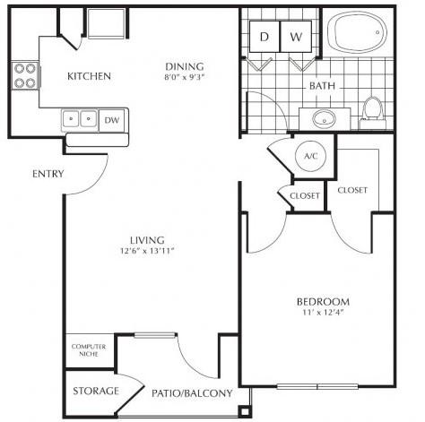 755 sq. ft. E2 floor plan