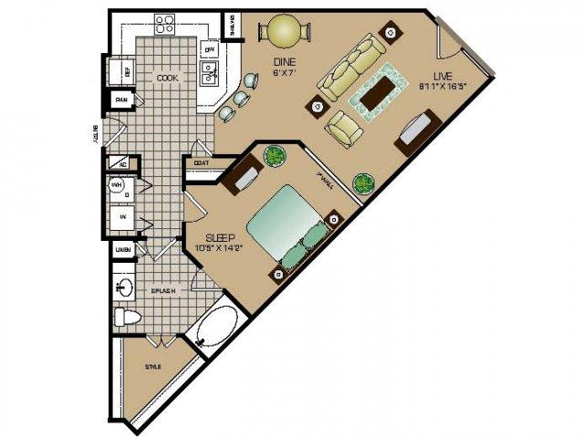 817 sq. ft. E2 floor plan