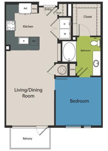 747 sq. ft. A2.3 floor plan