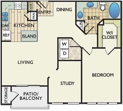 946 sq. ft. Gaugin floor plan