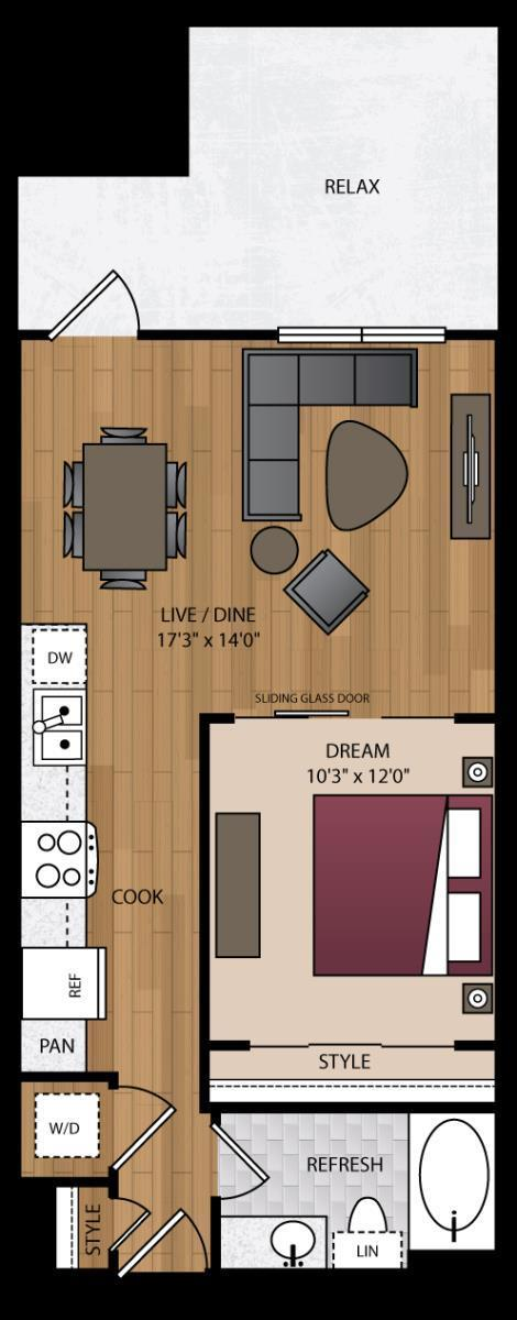 640 sq. ft. A3.3 floor plan