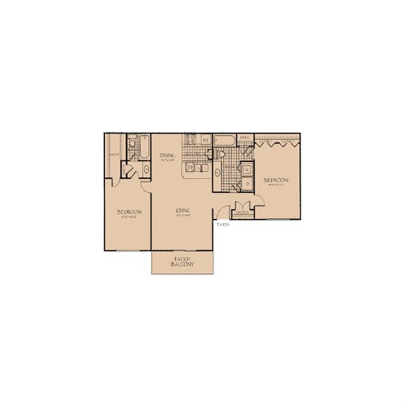 1,040 sq. ft. 2B.F floor plan