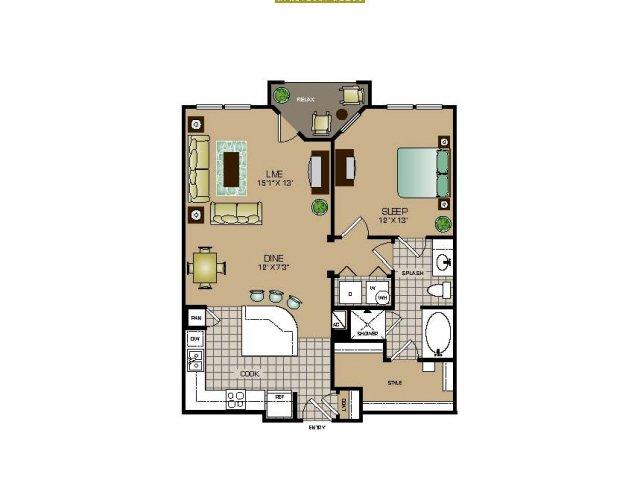867 sq. ft. A4 floor plan
