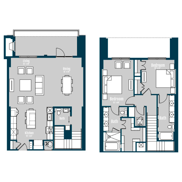 1,744 sq. ft. TH 2 floor plan