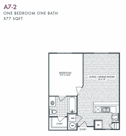 577 sq. ft. A7-2 floor plan