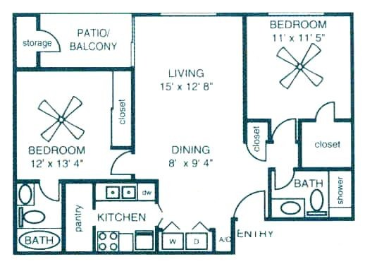 908 sq. ft. C2 floor plan