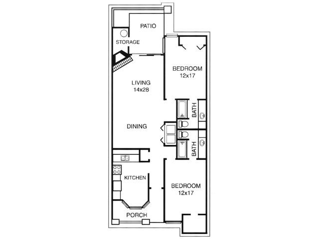 1,143 sq. ft. C floor plan