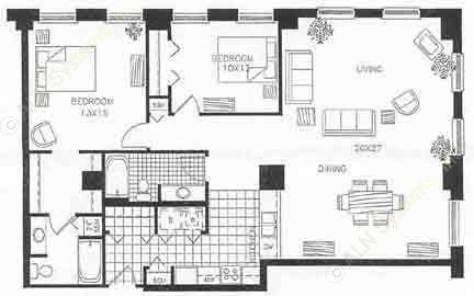 613 sq. ft. 60% floor plan